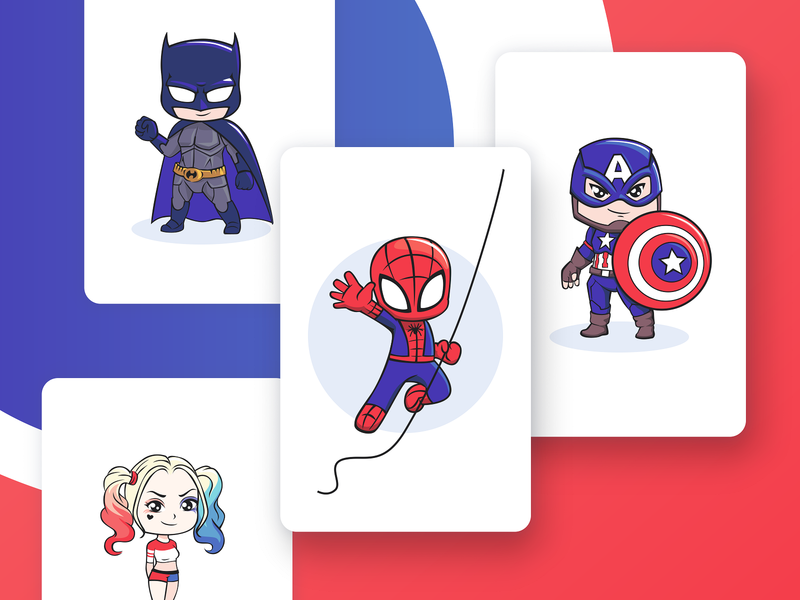 Superheroes player smile comic set spiderman costume batman boy icon marvel child cute ui character vector card game 2d superhero superman