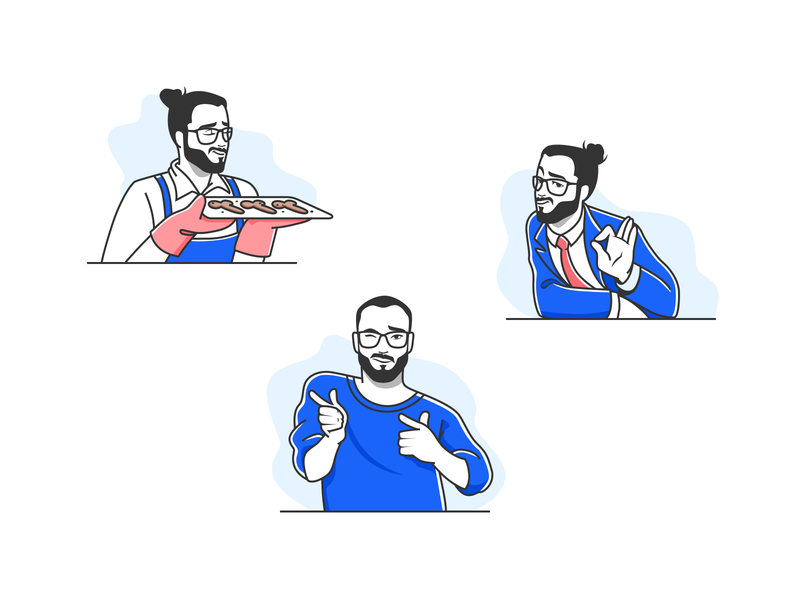 ‎Stickers for Telegram messenger ok blue icons avatars maker app face portrait telegram man stickers emoji smile emotion icon people character vector