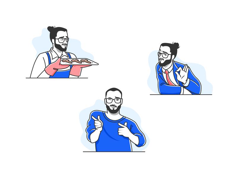 Stickers for Telegram messenger ok blue icons avatars maker app face portrait telegram man stickers emoji smile emotion icon people character vector