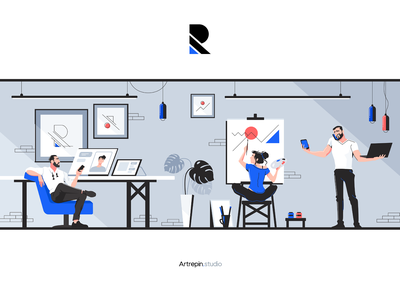 Illustration for artrepin.studio ui site manipulation blue process phone poses laptop office draw work woman man branding drawing emotion people character illustration vector