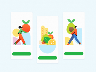 Healthy Eating for a Healthy Weight vector mobile app site orange geometic shapes woman man green mango apple egg bread fruits vegetable food weight eating eat health