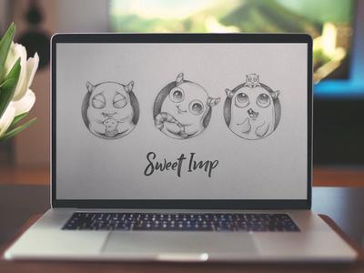 Sweet Imp laptop font concept match game characters sketch 2d vector icon design illustration