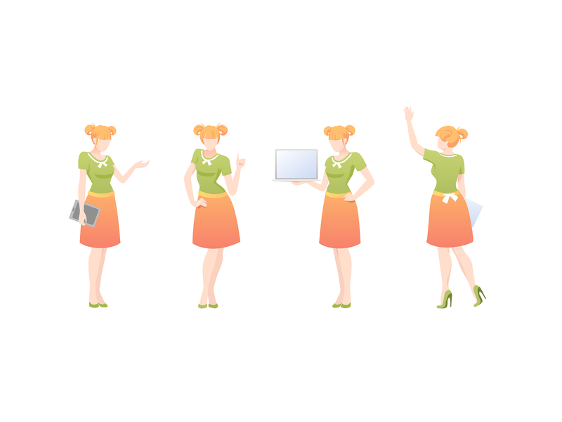 Persons1 oragne green clothes pose doc tablet computer woman presentation peoples landing page game gradient ui drawing emotion people character vector illustration