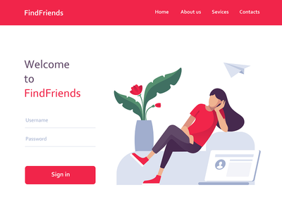 Find Friends registration friends website flat animation web app ux people avatar woman design paper icon ui drawing emotion character vector illustration