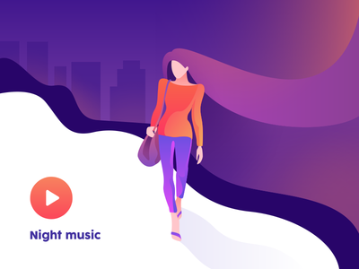Night music mood orange gradient music night icon play hair woman branding ui emotion people character vector illustration