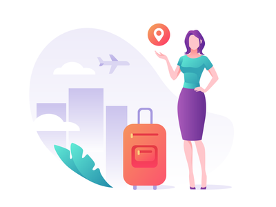 Travels maps template cloud icon purple bag urban airplane girl iphone travel ui branding people character vector illustration