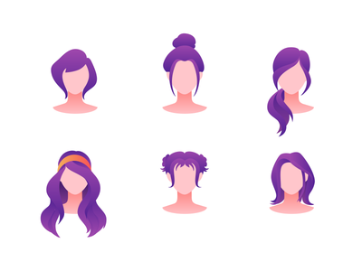 Hairstyles face avatar template set hairstyle hair purple hair purple icon people character vector illustration