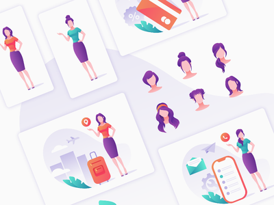 Purple set set landing ux hair template face clothes game avatar woman design icon ui people vector character illustration site