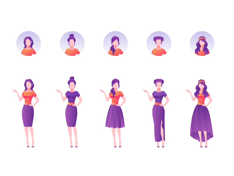 Vector Illustration People poses site landing modular template hair dress purple face clothes avatar woman design ui icon emotion people character vector illustration
