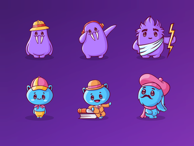 Characters for mobile game (part1) stickers emoji brsnding icon set cute education animal 2d vector illustrator monster cartoon mobile app game art game design character