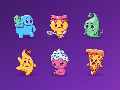 Characters for mobile game (part2) pizza vector stickers monster mobile app illustrator set icon game art 2d character game emoji education design cute character cartoon branding animal 2d