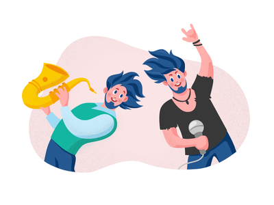 Two brothers ) book concert boys microphone singer rock man peoples emoji brother musician character drawing people emotion icon illustration vector