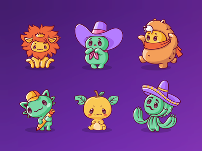 Characters for mobile game (part3) cactus bear lion apple vector stickers set monster mobile app illustraion icon game emoji education design cute character cartoon animal 2d