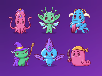 Characters for mobile game (part4) cartoon animal child 2d warrior feather wizard magic greek octopus design cute emotion sketch game icon vector character illustration