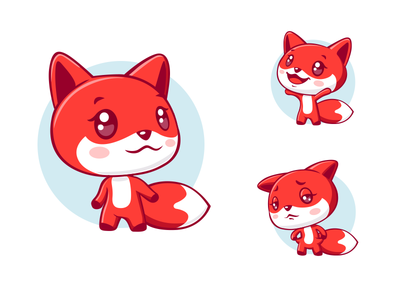 Red fox mobile ui animal fox red emoji icon logo avatar sketch game ui drawing design emotion cute vector character illustration