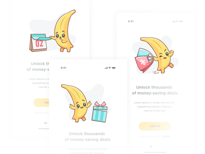 Characters for mobile app 1 sticker bag calendar present shop cartton 2d banana logo ui emotion icon character vector illustration