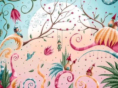 Whimsical village in spring floral art for kids photoshop whimsical children illustration illustration