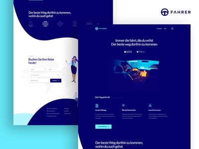 Ride Sharing Landing Page ui ux web website landing page landing typography isometric colorful illustration rider sharing ride company