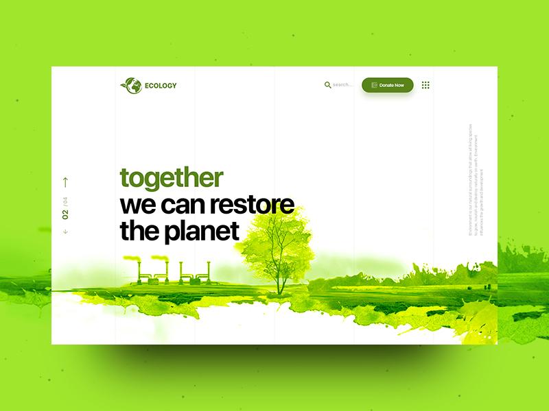 Ecology & Environment Landing Page web illustration vector nature non-profit fundraiser fundraising environment design environmental design ecology bio donation website design website concept landing page landing typography design ux ui