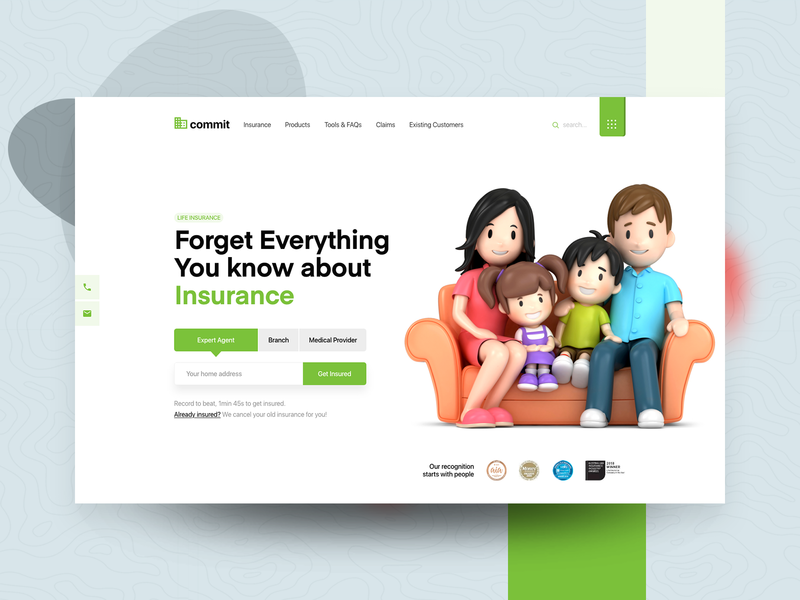 Life Insurance Agency Landing Page illustraion flat design clean character trend 2020 insurance branding art app animation abstract 3d 2d website landing page web typography ux ui