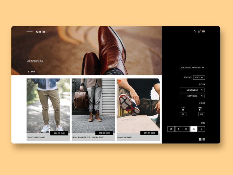AMIRI UI redesign design web website branding ux ui