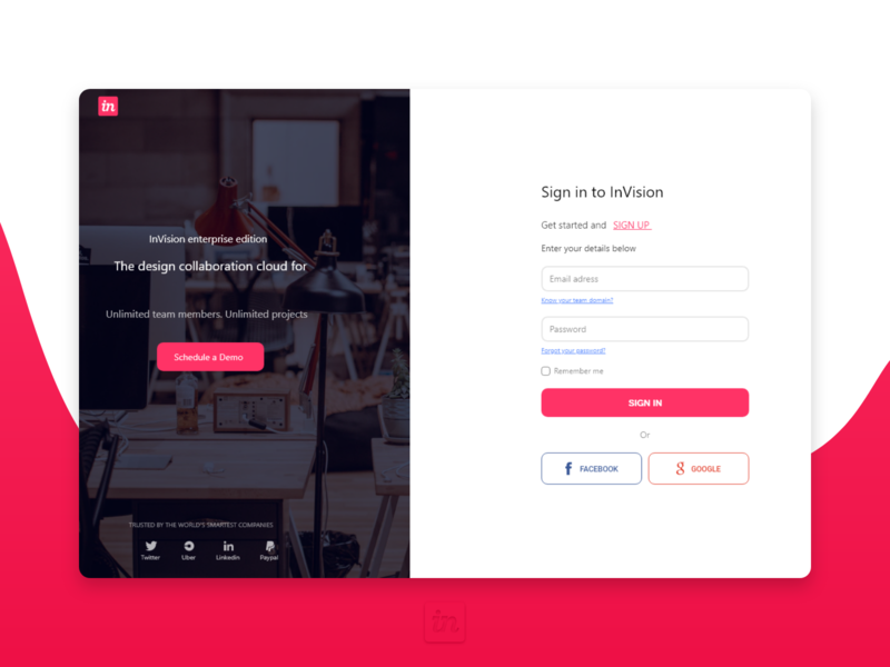 Invision Sign in form UI Redesign minimal website web design ui
