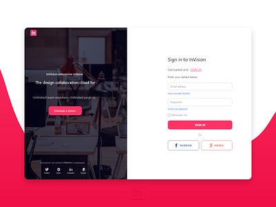 Invision Sign in form UI Redesign minimal website web design ui