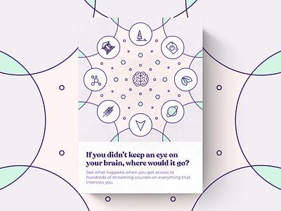 We're Into It montserrat recoleta kaleidoscope pastel branding concept brain wire icons iconography illustrations posters branding brand strategy