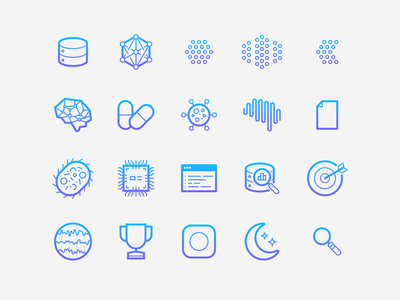 Beacon Biosignals Icon Set data brain neurology hardware disease machine learning oncology medical icon set icon gradient iconography