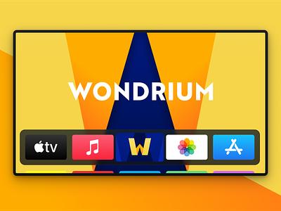 Wondrium on AppleTV monogram w naming name apple tv app icon logo identity brand strategy branding wondrium