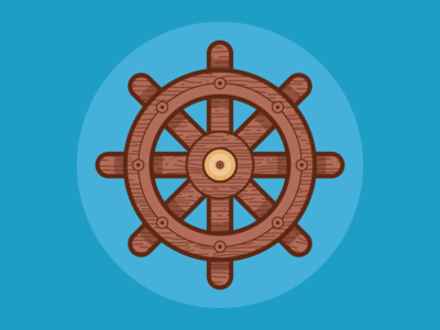 Handcrafted Wood and Brass Captain's Wheel  vector texture brass wood ship wheel wheel icon nautical