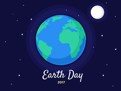 Earth Day flat illustration moon globe earth earth day