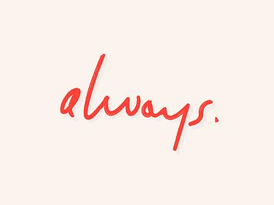 Always identity typeface ligatures handwritten custom font script