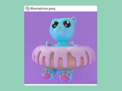 ✨Donut Bear🐻 colorful pastelcolors pastel kawaii cute sweets donut fairy bear 3dmodelling modelling fantasy 3d art c4d 3d artist 3d animation 3d