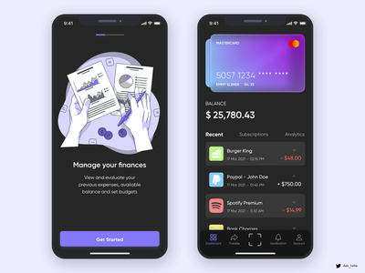 Credit Card App (Dark Mode) dark mode dark ui illustration paypal sketchapp sketch glassmorphism glass effect credit card wallet mastercard finance money
