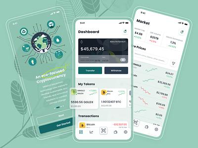 GRNGLD Crypto Wallet App exchange market trade dashboard onboarding ux u illustration application ui design sketch bank finance mobile ethereum nft bitcoin crypto ui