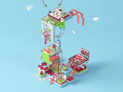 C is for Candy Factory. cinema4d candy 3d graphic design