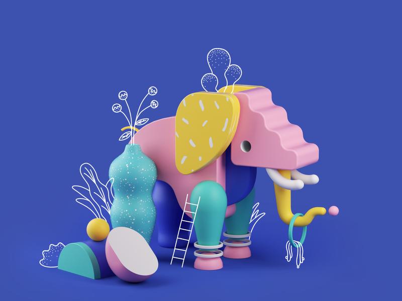 Fauna - Elephant 3d illustration graphic  design design plants art direction 2d illustration interior design 3d art