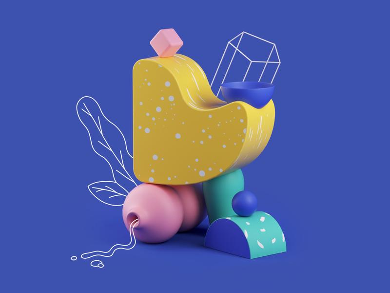 Fauna - Elephant illustration design graphic  design 3d art cinema4d graphic design 3d plants art direction 2d illustration 3d illustration