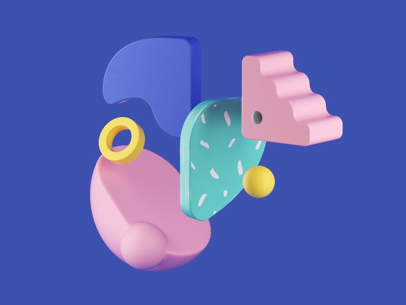 Fauna - Elephant design illustration graphic  design 3d art cinema4d graphic design 3d plants art direction 2d illustration 3d illustration