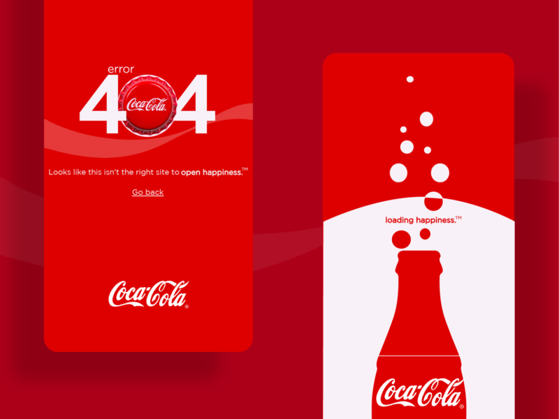 Coca-Cola - Error404 & Loading Page brand ui design uiux screen loading screen loading 404 error 404 404page cocacola brand design illustrator designs branding design branding vector ui design