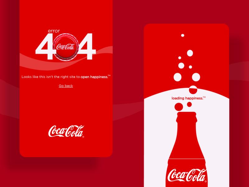 Coca-Cola - Error404 & Loading Page brand ui design uiux screen loading screen loading 404 error 404 404page cocacola brand design illustrator designs branding design branding vector ui design