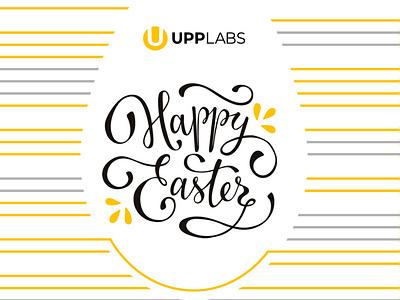 Happy Easter from UppLabs! branding graphic design grey yellow white poster art post card illustration stripes design easter holiday easter egg easter
