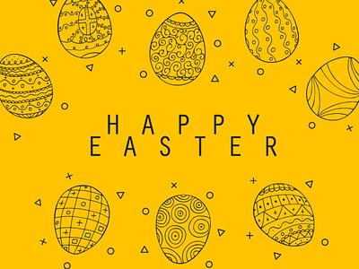 Easter eggs branding post card font inspiration design easter holiday graphic design illustration yellow easter egg easter