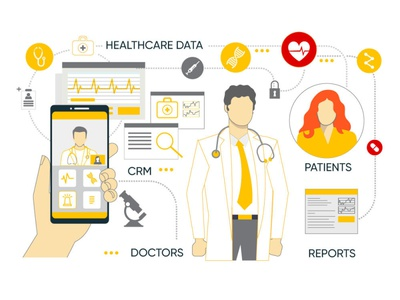 The work of medical CRMs doctors applications appdevelopment medical design crm healthcare app software development mobile iot character style illustration graphicdesgn figma grey yellow medical healthcare