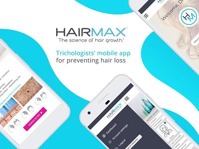 HairMax - Trichologists' mobile app for preventing hair loss waves medicine hair elegance user experience design user experience mobiledesign healthcare software development white concept blue fresh layout mobile figma design upplabs