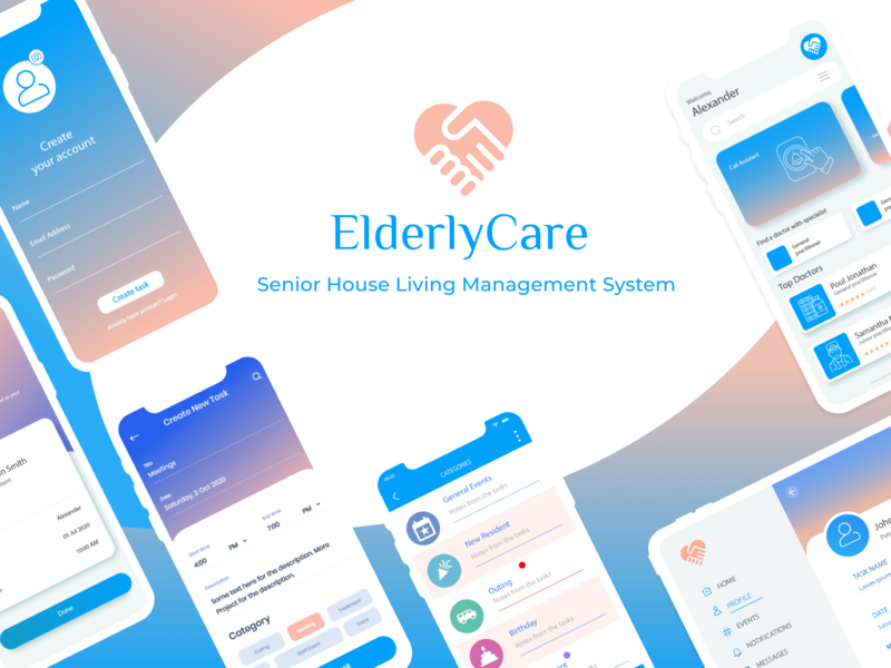 ElderlyCare - senior house living management system healthcare upplabs mobiledesign figma concept design joy modesty lilac white blue seniorhouse appdevelopment mobileapp elder crm peach pink