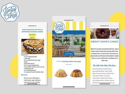 Janie's Cakes taste bakery yellow elegance user experience webdesign software development white concept blue fresh layout websitedevelopment website web figma design upplabs