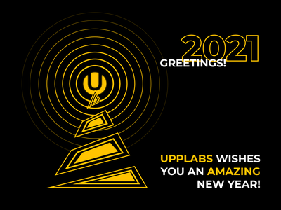 New Year greetings from UppLabs best wishes christmas tree christmas card happy new year black and yellow black new year greeting card greeting greetingcard 2021 design 2021 vector branding illustration yellow upplabs concept figma design