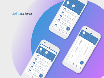 Saglik Lokman - a unique medical software white violet platform medicalplatform appdevelopment application app healthapp health medicalsoftware medicine fresh healthcare software development blue upplabs concept figma design